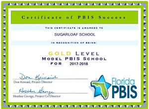 PBIS gold level certificate for Sugarloaf school
