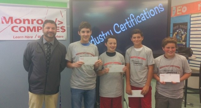 Mr. Roy with his students that earned industry certifcations