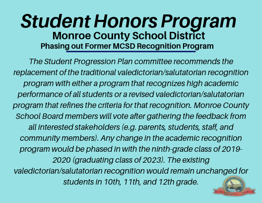 Student Honors program. Link to information available.