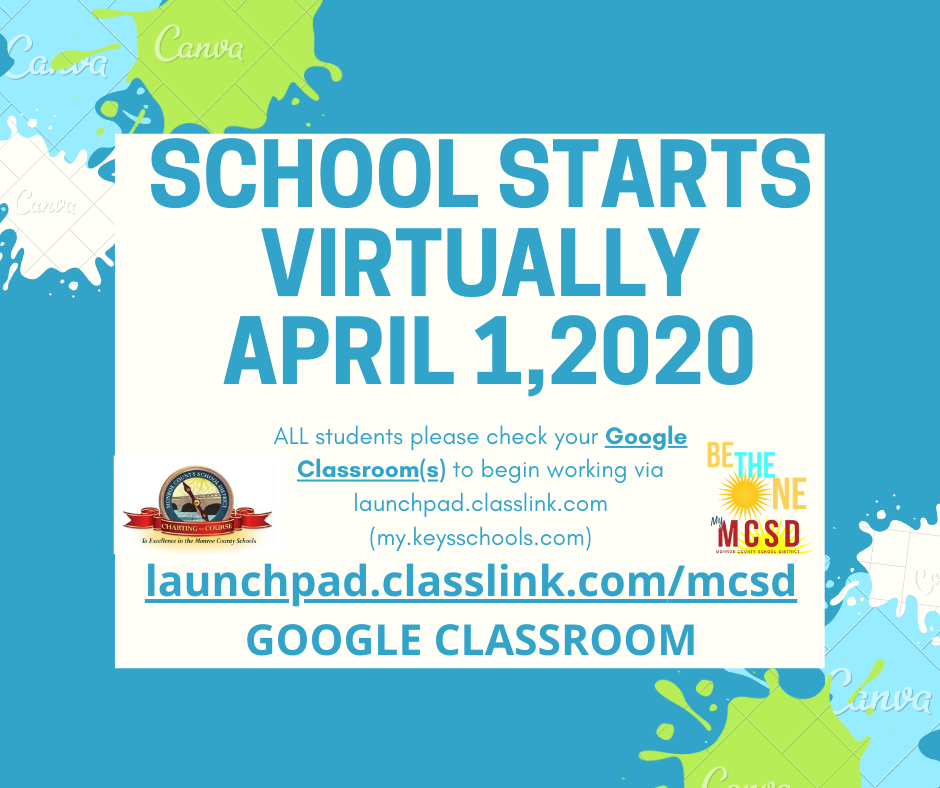 school starts virtual announcement logo